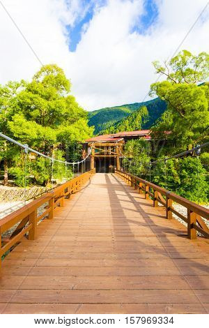 Kamikochi Wood Deck Kappa Bashi Bridge Centered V