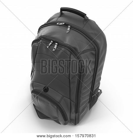 Angle from up Black backpack or back pack or school bag or rucksack isolated on white background. 3D illustration