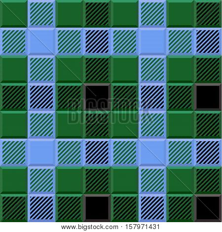 3D Lumberjack Tartan Seamless Pattern in Black Blue Green and Gray. Trendy volumetric illustration for wallpapers. Traditional Scottish ornament. Tartan plaid inspired background.