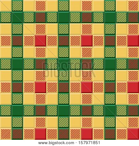 3D Lumberjack Tartan Seamless Pattern in Red Yellow and Green. Trendy volumetric illustration for wallpapers. Traditional Scottish ornament. Tartan plaid inspired background.