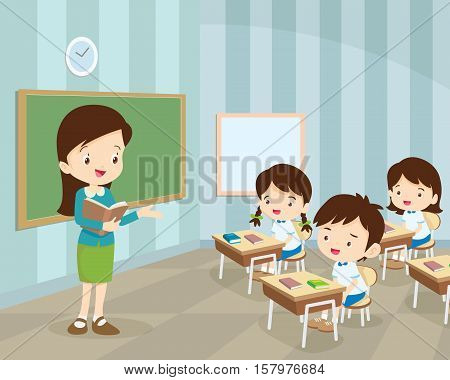 Young Teacher And Students In Classroom
