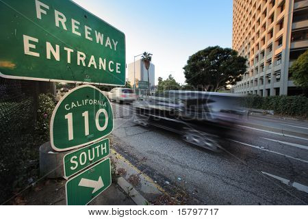110 South Freeway entrance. Downtown Los Angeles, California, USA.