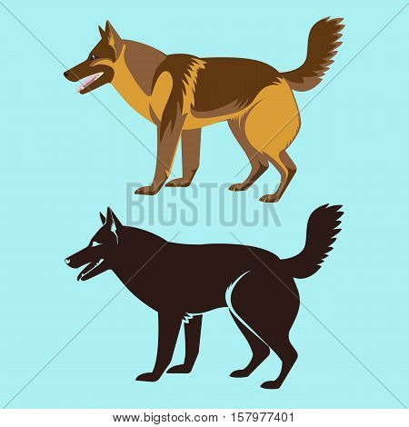 Alsatian dog silhouette isolated. German sheepdog, watchdog, guide, police dog. Medium to large-sized working dog. German Shepherd Dog. GSD illustration. Buddy dog side view. Home pet. Vector
