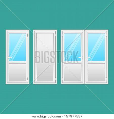 Aluminium doors set. Front doors to houses and buildings in flat design style isolated. Interior door, connecting door with window. Types of elegant doors from light strong metal. Vector illustration.