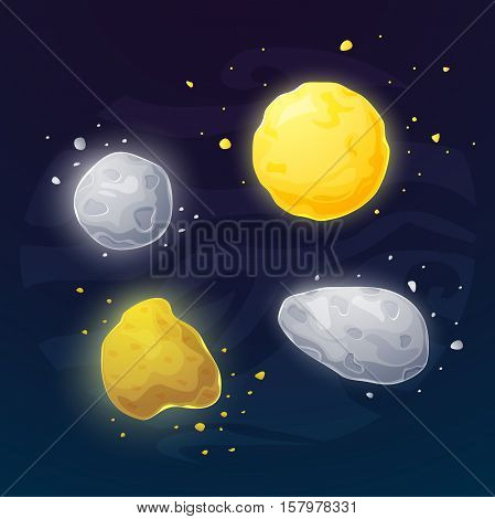 Set of different space asteroids, vector illustartion in cartoon style