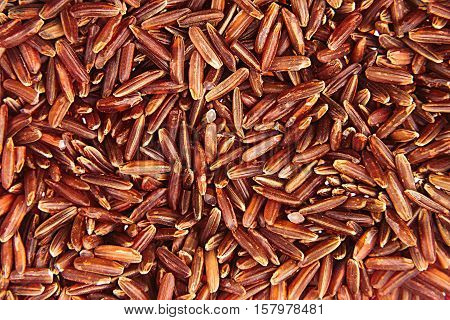 Red rice close-up background. Heap wild brown unpolished rice for vegetarians.