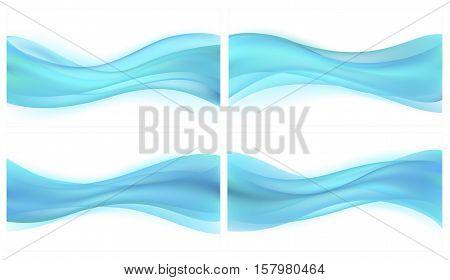 Vector set beautiful blue background of stylized waves