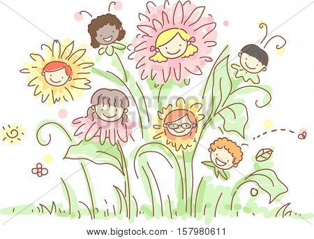 Whimsical Illustration of Kids Drawn Like Dainty Flowers and Bubbly Bees