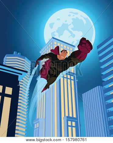 Superhero Flying Through The Night City.