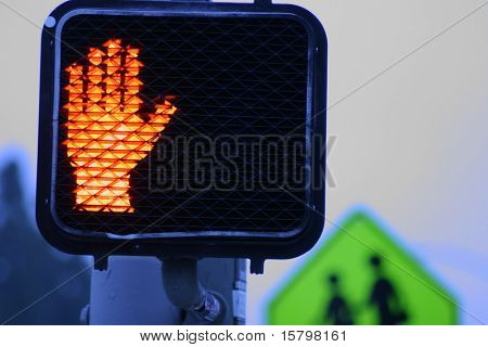 Stop signal at dusk. Crossprocessed.