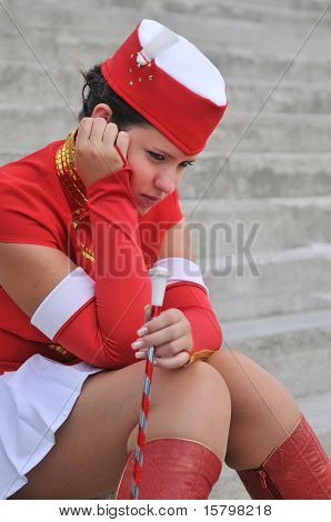 Majorette - Unhappy Teen In Uniform