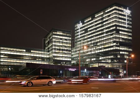 VILNIUS NOVEMBER 22: Modern Business Building on November 22 2016 in Vilnius Lithuania. Vilnius is the capital of Lithuania and its largest city.