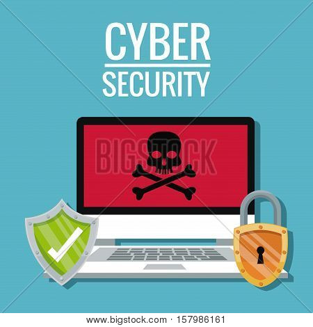 Laptop skull shield and padlock icon. Cyber security system warning and protection theme. Vector illustraton
