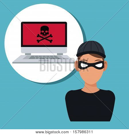 Hacker and laptop icon. Cyber security system warning and protection theme. Vector illustraton