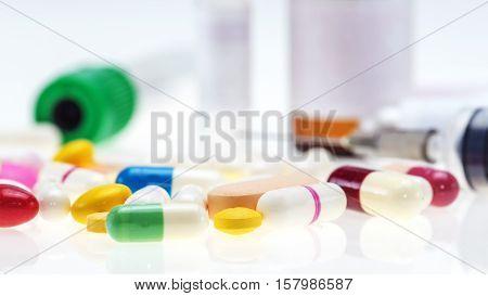 Medical equipment : Bottle vaccine Blood tubeneedleSyring focus at bottle vaccine