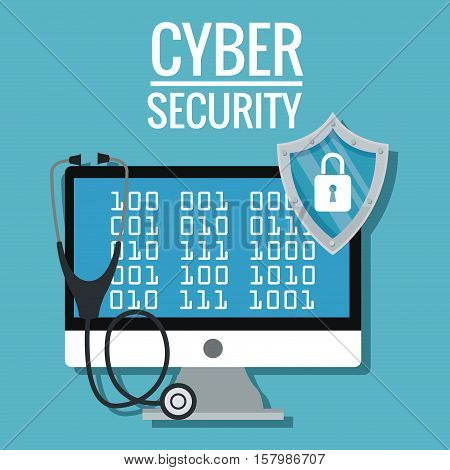 Computer stethoscope and shield icon. Cyber security system warning and protection theme. Vector illustraton