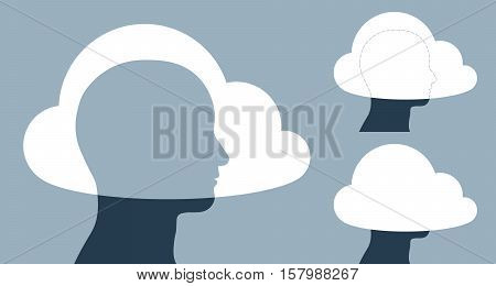 Vector illustration of clouds covering human heads against gray background