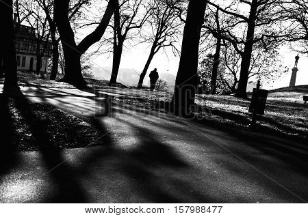 Lonely man walking alone through the park. Loneliness, abandoned, going alone through the life