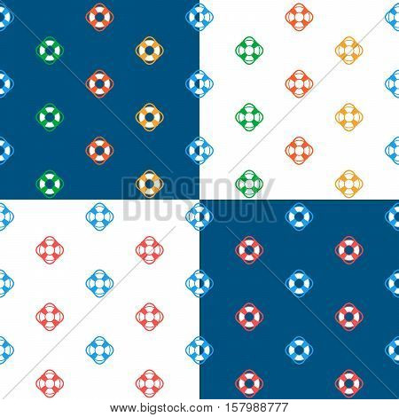 Vector set of seamless lifesaver buoy pattern against blue and white backgrounds