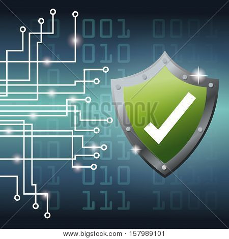 Shield and circuit board icon. Cyber security system warning and protection theme. Vector illustraton