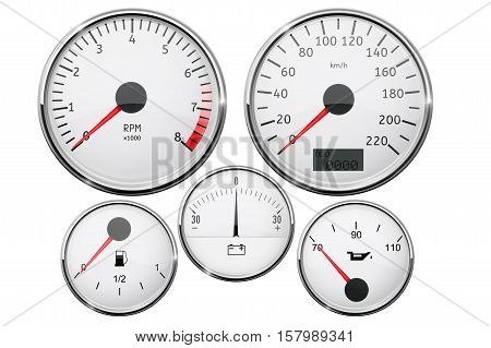 Car dashboard - speedometer, tachometer, fuel gauge, temperature gauge. Vector illustration isolated on white background