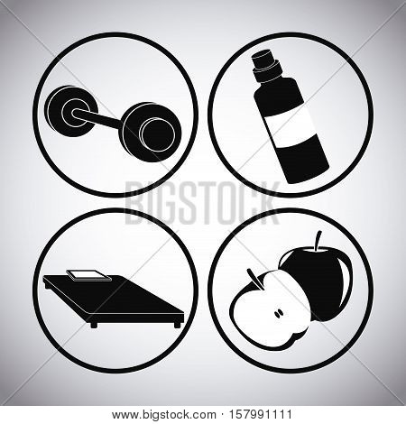 Bed wieght bottle and apple icon. Healthy lifestyle fitness sport and bodycare theme. Vector illustration