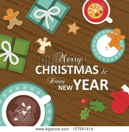 top view of Christmas celebration. vector illustration