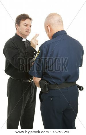 Policeman receives a blessing from a priest or minister.  Isolated on white.