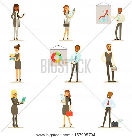 Business, Finance And Office Employees In Suits Busy At Work Set Of Smiling Cartoon Businessman And Businesswoman Characters Illustrations. Collection Of Vector Drawings With People Working In Financial And Marketing Spheres Wearing Dress Code Clothing.