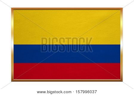 Colombian national official flag. Patriotic symbol banner element background. Correct colors. Flag of Colombia golden frame fabric texture illustration. Accurate size color