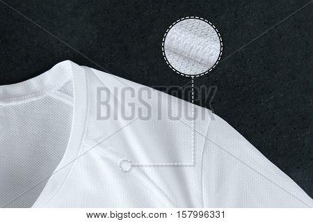 Close up of flat seams in thermoactive shirt