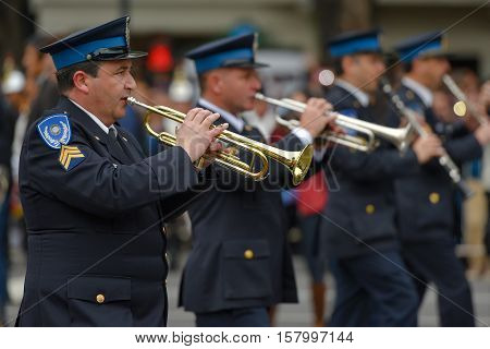 Buenos Aires, Argentina - Jul 11, 2016: Members of the Argentine police band perform at the parade during celebrations of the bicentennial anniversary of Argentinean Independence day.