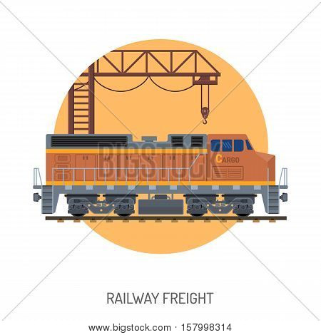 Railway Freight Flat Icons Concept with train and gantry crane. isolated vector illustration