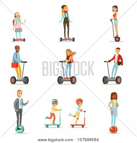 People Riding Electric Self-Balancing Battery Powered Personal Electric Scooters With One Or Two Wheels, Collection Of Cartoon Characters. Happy Man And Women Using Modern Technology Gyro Vehicles Vector Illustrations.