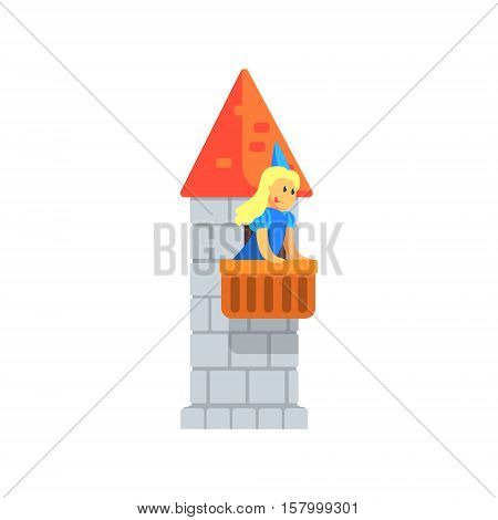 Girl In Blue Princess Outfit Standing On The Balcony Of The Rock Tower Performing In Fairy Tale Show. Children Actors Acting On Stage Of School Theatre In A Play For Performance Art Class Colorful Vector Illustration