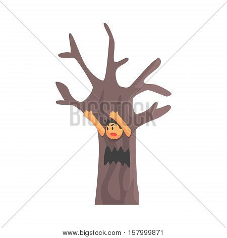 Boy In Costume Of The Dead Scary Tree Performing In Theatrical Show In Fairy-Tale Story. Children Actors Acting On Stage Of School Theatre In A Play For Performance Art Class Colorful Vector Illustration