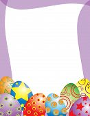 stock photo of easter-eggs  - Illustrated frame decorated with whimsical Easter eggs - JPG