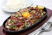 sizzling pork sisig, filipino cuisine poster