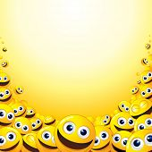 picture of smiley face  - Background with heap of Yellow Smileys  - JPG