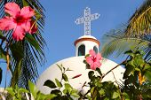pic of playa del carmen  - Playa del Carmen white Mexican church arches belfry Mayan Riviera - JPG