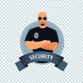 Round Icon On White Background With Security poster
