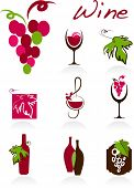 stock photo of wine-glass  - collection of wine icons - JPG