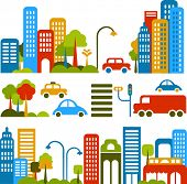 Vector illustration of a city street with colorful icons of cars, trees and buildings