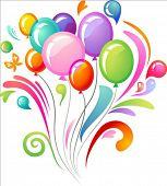 stock photo of happy birthday card  - Splash background with colourful balloons - JPG