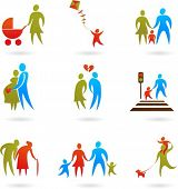 stock photo of people icon  - Collection of family icons - JPG