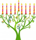 stock photo of menorah  - Hanukkah menorah tree with candles - JPG