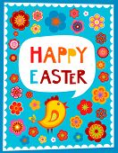 stock photo of greeting card design  - Easter greeting card with blue background - JPG