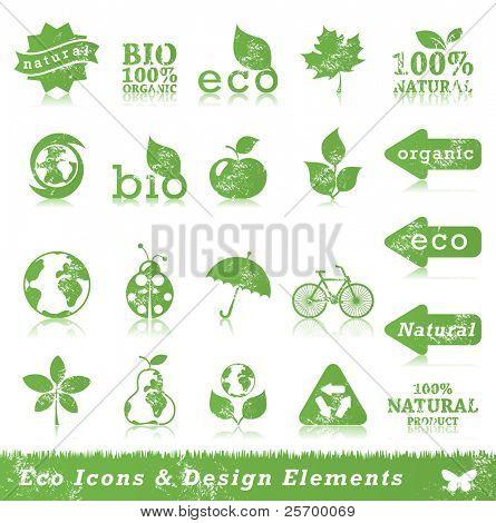 Conjunto de ícones do grunge ecologia