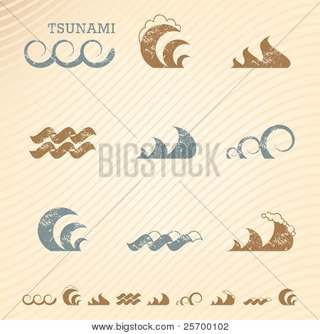Set of grunge wave symbols for design
