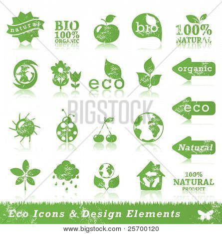 Grunge ecology icon set